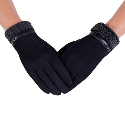 Pulison(TM)Men Women Winter Driving Riding Waterproof Windproof Full Finger Motorcycle Climbing Ski Outdoor Sports Mitten Heated Screentouch Woolen Soft Warm Anti-slip Snowboard Gloves (Black, 24cm)