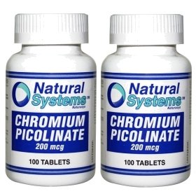 Natural Systems 2 Pack Chromium Picolinate 200 Mcg 2X100 Tablets Fat Burner
