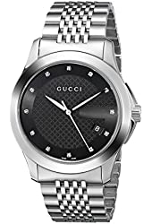 Gucci Men's YA126405 G-Timeless Medium Diamond Marker Black Dial Watch