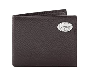 NCAA Kansas State Wildcats Zep-Pro  Pebble Grain Leather Bifold Concho Wallet, Brown