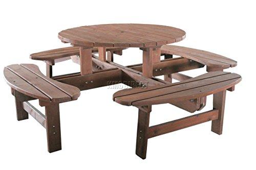 Foxhunter Garden Patio 8 Seater Wooden Pub Bench Round Picnic Table Outdoor Indoor Home Park