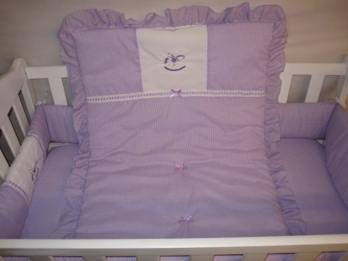 Baby Doll Bedding Gingham with Rocking Horse Applique Cradle Bedding Set, Lavender