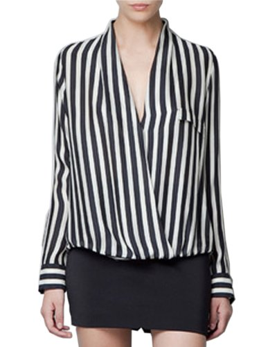 HaboZoo Womens Fashion Deep V Neck Long Sleeve Stripe Top Blouse Small