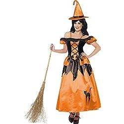 Märchenbuch Hexe Kostüm Orange mit Kleid und Hut, Small