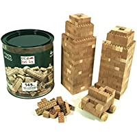 Eco Bricks Wooden Construction Bricks, 145 Piece