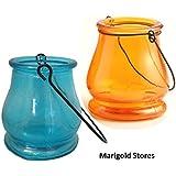 Orange & Blue Glass Teardrop Decorative Designer Lantern Tealight Candle Holder - Set Of 2 - BY MARIGOLD STORES