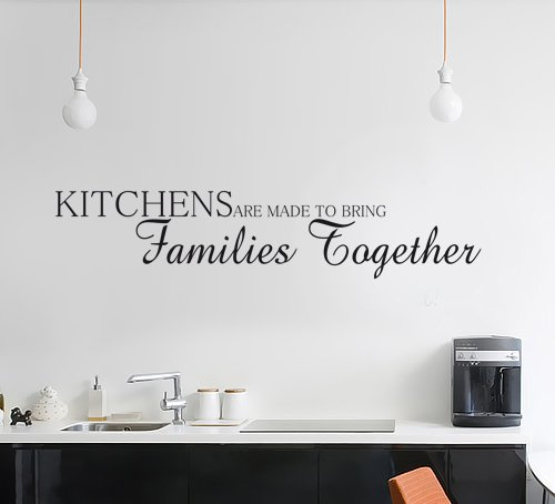 Decorative Wall Art Decal Text Quote Sticker - Kitchens Are Made To Bring Families Together 3 Sizes 30 Colours (Black, Medium)