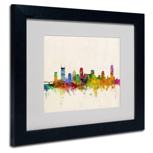 Trademark Fine Art Nashville Skyline Artwork by Michael Tompsett, Black Frame