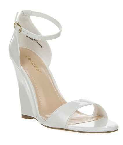 Gorgy01 White Classic Wedge Dress Sandal Toe Strap Ankle Strap Women Bamboo Shoe-7 front-737158