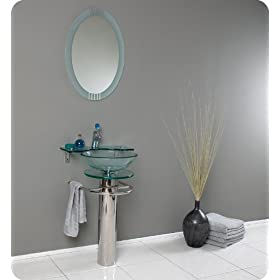 Fresca Ovale Modern Glass Bathroom Vanity w/Glass Shelf