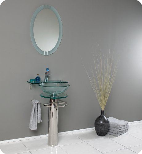 Fresca Ovale Modern Glass Bathroom Vanity w/ Frosted Edge Mirror