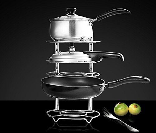 Height Adjustable Pan Pot Organizer Rack, Voyage 5-Tier Heavy Duty Kitchenware Cookware Rack Holder Kitchen Cabinet Countertop Stainless Steel Storage Solution