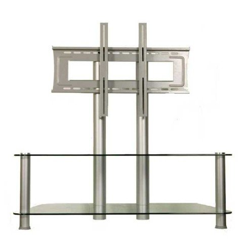 Meubles tv europsonic meuble table tv aluminium verre for Table tv verre