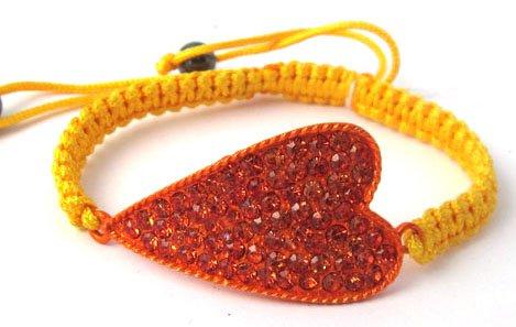 Orange Lace Style Iced Out Heart Bracelet with Beaded Disco Balls Macrame Shamballah
