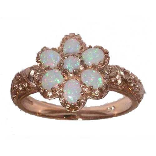 9ct Rose Gold Ladies Vibrant Opal Cluster Ring - Size L - Finger Sizes L to Z Available