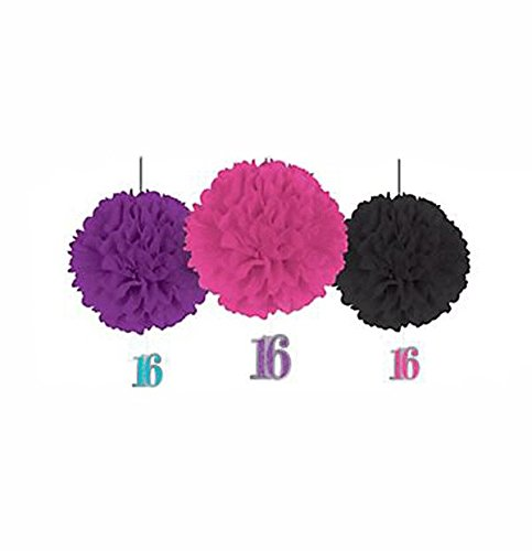 Celebrate Sweet 16 Birthday Party Fluffy Tissue Hanging Decorations - 3ct - 1