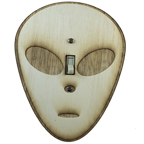 "Alien Switch Plate - Raw Wood - 5.7""x7"""