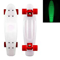 "Pop-Lite® Blank Vinyl Plastic Cruiser Skateboard 22"" Complete Glow/Hover/Solid Red"