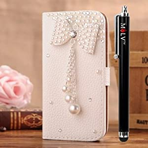 M-LV LG Optimus L7 ii P710(Not P715 P705 700) Leather Diamond Bling crystal Folio Support Smart Case Cover With Card Holder & Magnetic Flip Horizontals - Bowknot Flower from M LV