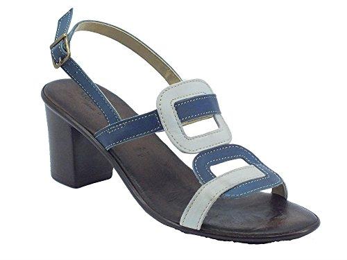 Sandali Mercante di Fiori per donna in pelle blu tacco medio (Taglia 39)