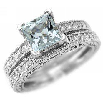 antiqued wedding ring set's