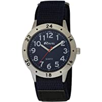 Ravel Action Watch with Quick Release Velcro Strap Men's Quartz Watch with Blue Dial Analogue Display and Black Nylon Strap R1601.55M