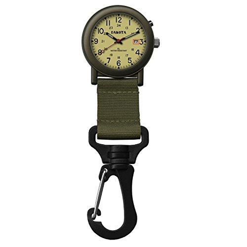 Dakota Watch Company Light Backpacker Clip Watch with Dial Light, Moss