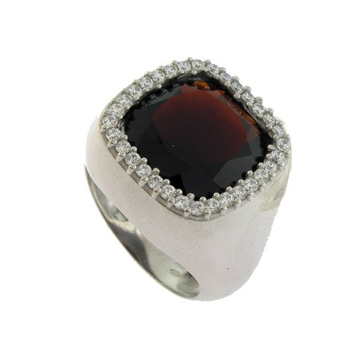Loox Garnet Men's Ring in White 925 Sterling Silver with Garnet and White Cubic Zirconia