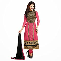 Pavani Women's Georgette Semi Stitched Dress Material (D1500116_Pink_Free Size)