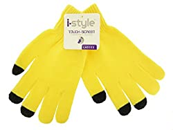 Ladies Neon Touchscreen Stretch Gloves - Black/Yellow