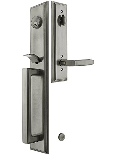 """Melrose Style Tubular Handleset In Antique Pewter With Left Hand Milano Lever And 2 3/4"""" Backset. Antique Handles. front-860910"""