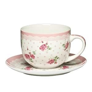 Premier Housewares Rose Cup and Saucer - 16 oz - Pink