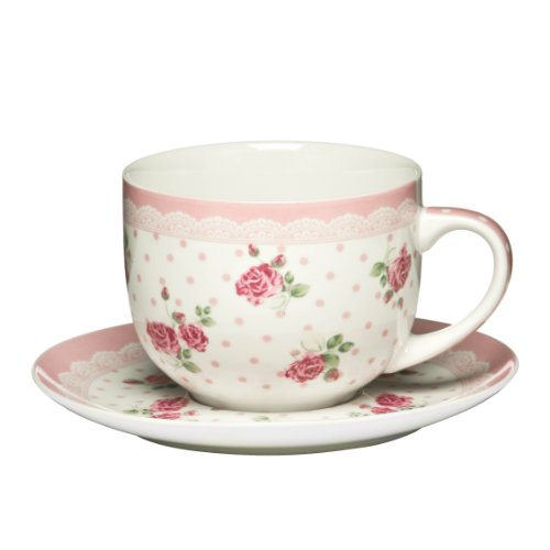Premier Housewares 16 oz New Bone China Cup and Saucer, Rose Pink