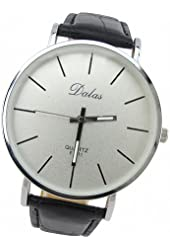 Youyoupifa Best Birthday Gift Fashion PU Leather Strap Quartz Wrist Watch (Black&White)