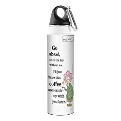 Tree-Free Greetings VB47797 Aunty Acid Artful Traveler Stainless Steel Water Bottle, 18-Ounce, Seize The Day