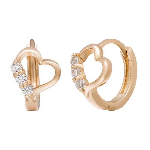 Romantic Time Heart of Lovers Gemstone Studded 18k Rose Gold Plated Hoop Earrings
