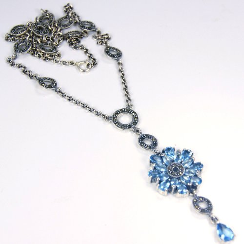 Mesmerizing Blue Topaz & Sterling Silver Necklace