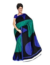 Fabdeal Women Indian Designer Printed Saree Green & Blue-GML106256ARSHMA