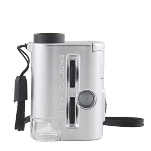 Mini 30-60X Pocket Microscope Jewelry Magnifier Magnifying Loupe Led Uv Light