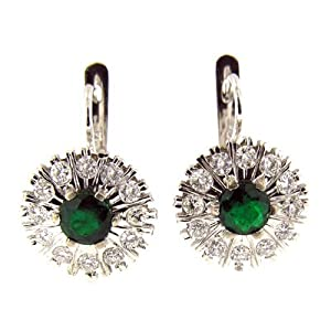 2.70 CT WHITE GOLD EMERALD & DIAMOND EARRINGS 14 KT