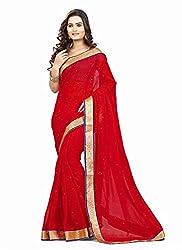 Clothsguru Women's Chiffon Saree with Blouse Piece (Red)