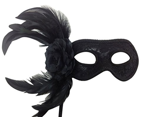 Womens Venetian Style Feather Prom Ball Gras Eye Costume Masquerade Mardi Mask