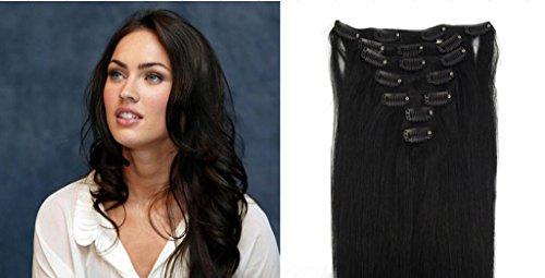 RemyHair Clip-In-Extensions fur komplette Haarverlangerung hochwertiges Remy-Echthaar 38CM 16clips 70g #1jet black