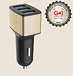 Universal Car Charge ,ROCK Brand three USB Quick Charger 2.0 Car charger 4.8A For apple, Samsung, htc, sony, lg, motorola and so on GOLD COLOR retail box