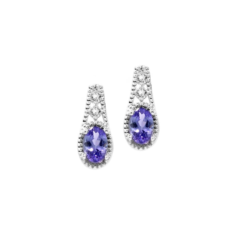1.00 Ct 6X4MM Oval Natural Tanzanite & White Topaz 925 Sterling Silver Earrings