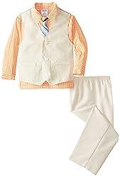 IZOD Little Boys' Basketweave Vest Set, Melon Sher, 04/Regular