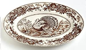 Spode Celebration Thanksgiving Turkey Platter, Brown & White Transferware