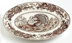 Spode Celebration Thanksgiving Turkey Platter, Brown & White Transferware