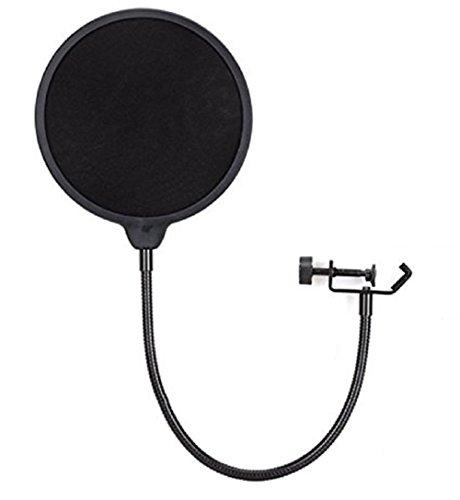 Vococal - Studio Microfono Mic Vento Schermo Anti Filtro Anti-Pop Girevole 360 Gradi Supporto Collo di Cigno Flessibile Flex Mic Pop Filtro Nero