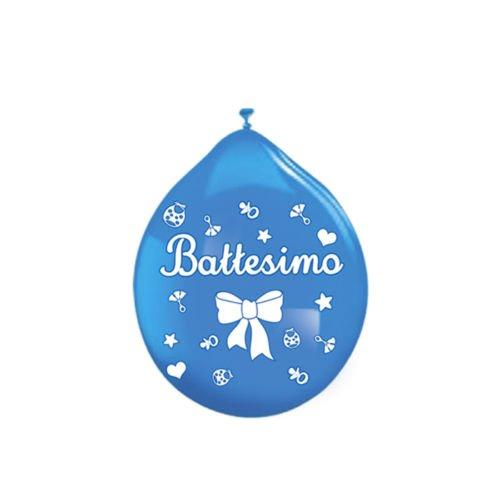 Palloncini Battesimo Azzurrro addobbi e decorazioni per feste party confezione 16pz